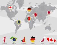 Weltkarte mit Bahrain, Brasilien, Cameron, Deutscher, Zeiger Japans, Kanada lizenzfreie abbildung