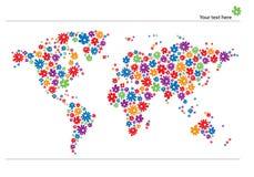 Weltkarte mit Blumen Stockfotografie