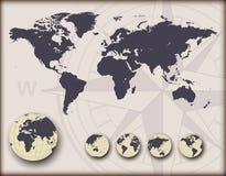 Weltkarte mit Erdkugeln Lizenzfreie Stockfotos