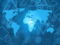 Weltkarte mit gelegentlichen Zeichen Stockbilder
