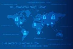 Weltkarte mit geschlossenem Auflagenverschluss- und -binär Code-Hintergrund, Internetsicherheits-Konzept Auch im corel abgehobene lizenzfreie abbildung