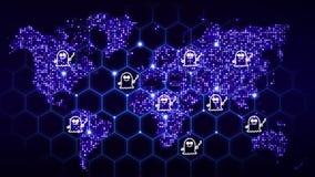 Weltkarte mit glühenden Punkten und ein Hexagongitter mit Erscheinung symb Stockfotografie
