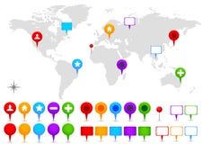 Weltkarte mit GPS-Ikonen. Lizenzfreie Stockfotografie