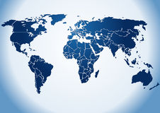 Weltkarte mit Hintergrundbeleuchtung Lizenzfreie Stockfotos
