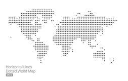 Weltkarte mit horizontalen Linien Stockbilder