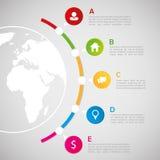 Weltkarte mit infographic Elementen - Kommunikationskonzept Stockfotos