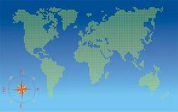 Weltkarte mit Kompaß Stockfoto