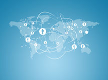 Weltkarte mit Kontakten Stockbild