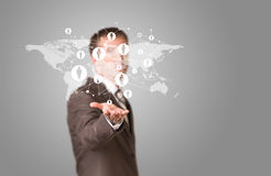 Weltkarte mit Kontakten Lizenzfreies Stockfoto