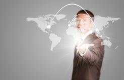 Weltkarte mit Linie Lizenzfreies Stockfoto
