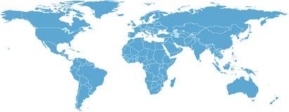 Weltkarte mit Ländern Lizenzfreies Stockfoto
