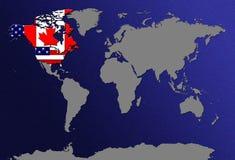 Weltkarte mit Markierungsfahnen Stockfoto