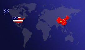 Weltkarte mit Markierungsfahnen Stockbild