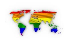 Weltkarte mit Regenbogenflagge Stockbild