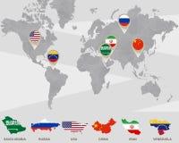 Weltkarte mit Saudi-Arabien, Russland, USA, China, der Iran, Venezuela Zeigern lizenzfreie abbildung