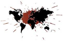 Weltkarte mit Splatterabbildung Stockbilder