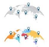 Weltkarte mit Stadtverbindungen Stockfotos