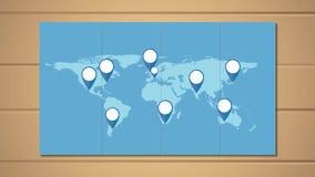 Weltkarte mit Stiftzeigern auf hölzernem Hintergrund stock abbildung