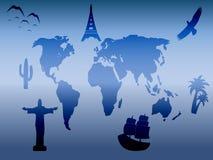 Weltkarte mit typischen Sachen für Länder Stockbild