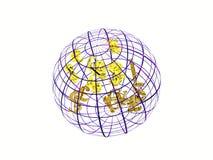 Weltkarte mit Währungszeichen. Stockbild