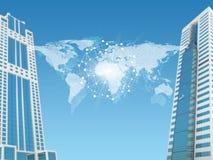 Weltkarte mit Wolkenkratzern Stockbild