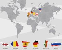 Weltkarte mit Zeigern Georgia, Rumänien, Spanien, Deutschland, Portugal, Russland stock abbildung
