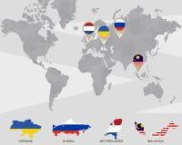 Weltkarte mit Zeigern Ukraine, Russland, die Niederlande, Malaysia stock abbildung