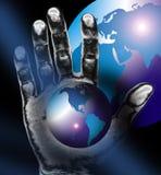 Weltkarte oder -kugel plus Hand Stockfoto