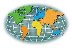 Weltkarte-Regionen Stockbild