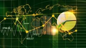 Weltkarte-Statistik-Daten stellen dunkelgrünen Finanzhintergrund 3D grafisch dar stock abbildung
