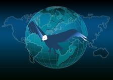 Weltkarte und -adler Stockfotografie