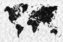 Weltkarte und alle Sachen in Verbindung gestanden Stockfotografie