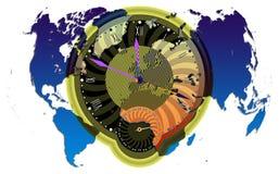 Weltkarte und clock1 lizenzfreie abbildung