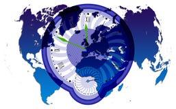 Weltkarte und clock2 Lizenzfreie Stockfotografie