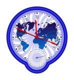 Weltkarte und clock3 Stockfotos