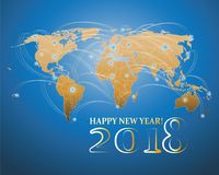 Weltkarte und die Aufschrift 2018 guten Rutsch ins Neue Jahr! Lizenzfreies Stockfoto