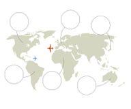 Weltkarte und Fläche oder Flugzeuge herein lizenzfreie abbildung