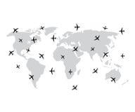 Weltkarte und Fläche oder Flugzeuge im Vektor vektor abbildung