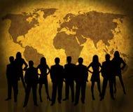 Weltkarte und -Geschäftsleute Stockfotografie