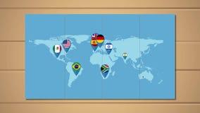 Weltkarte- und Kartenzeiger mit Flaggen lizenzfreie abbildung