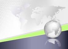 Weltkarte und Kugel - Hintergrund des globalen Geschäfts Stockfotografie