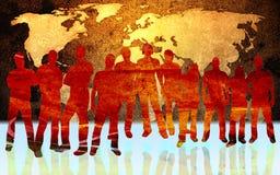 Weltkarte und -leute Lizenzfreie Stockfotografie