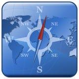 Weltkarte und stilisiert Kompaßikone stock abbildung