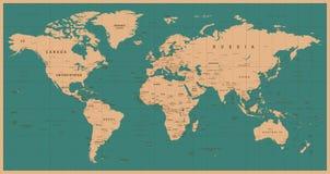 Weltkarte-Vektor-Weinlese Ausführliche Illustration von worldmap Stockfotografie