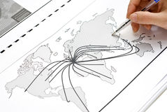 Weltkarte von Europa zur Welt Stockbilder