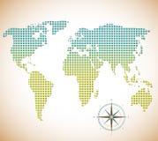 Weltkarte von Quadraten mit Kompass lizenzfreie abbildung