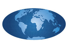 Weltkarte zentriert auf Afrika Stockbild