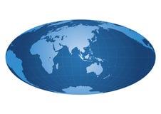 Weltkarte zentriert auf Asien Stockbild