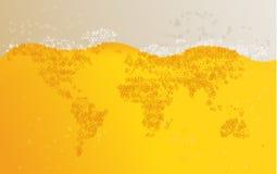 Weltkartebierhintergrund Stockfoto