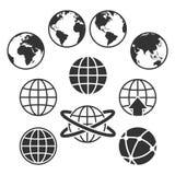 Weltkarteikonen Lizenzfreie Stockbilder
